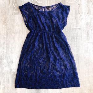 HERITAGE 1981 Boho Sheer Lace Navy Blue Dress